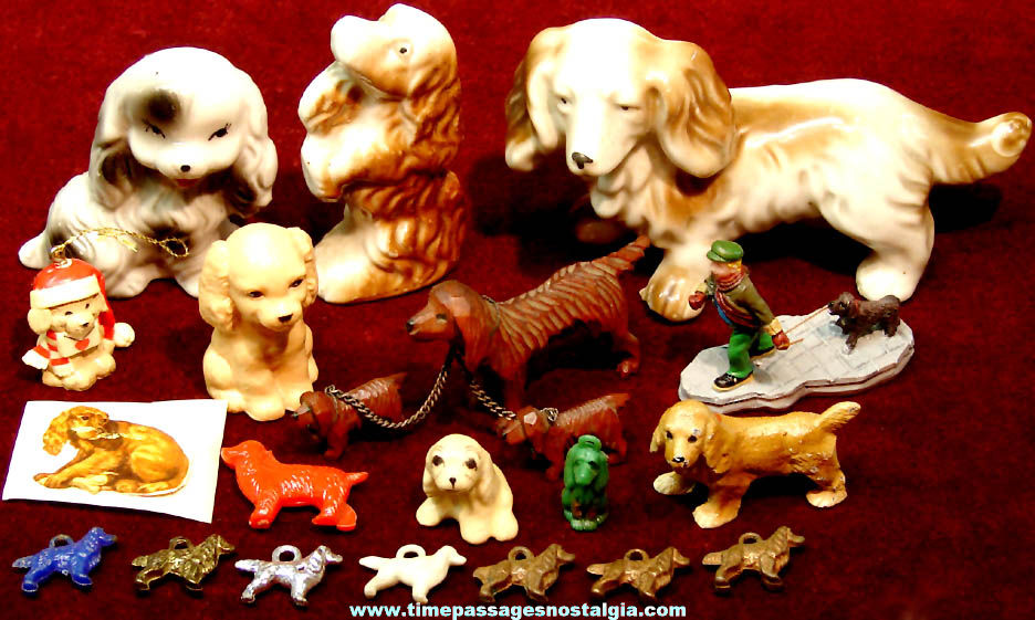 (21) Small Old Cocker Spaniel Dog Related Items