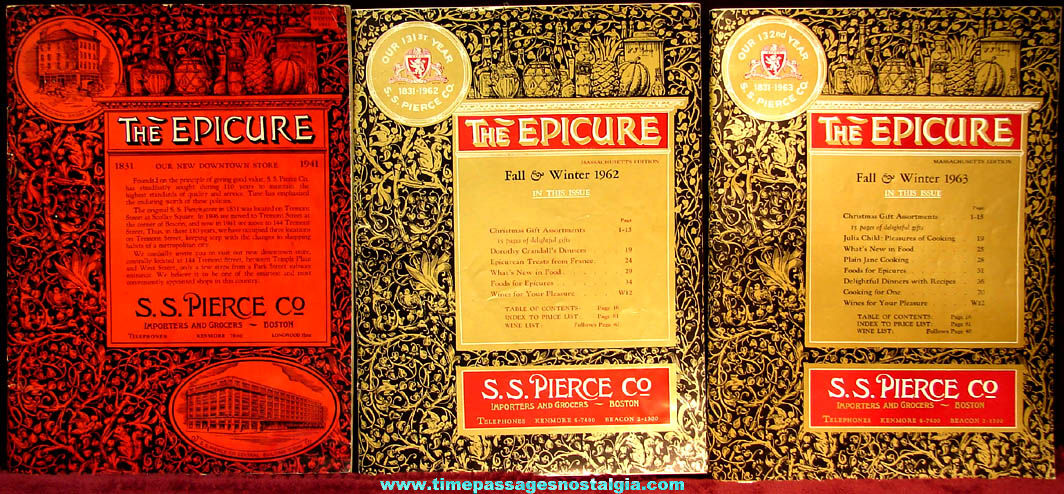 (3) Different Old S. S. Pierce Company Importers and Grocery Store Epicure Catalogs