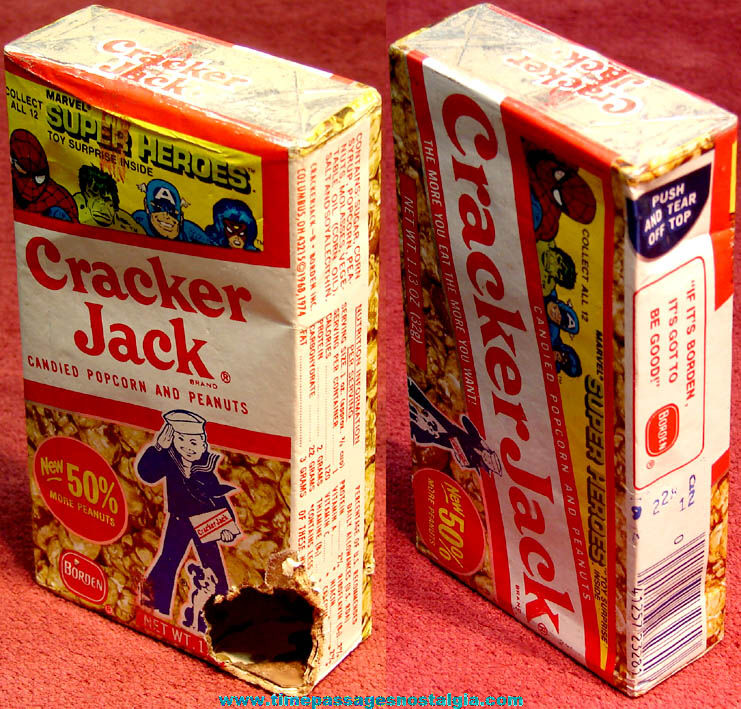 ©1979 Cracker Jack Pop Corn Confection Marvel Super Heroes Box