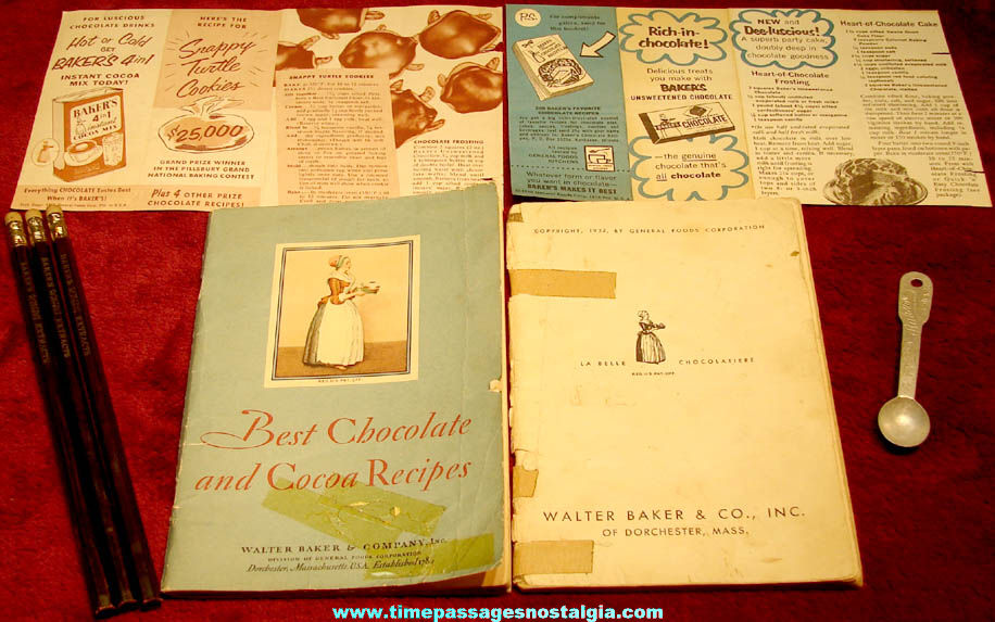 (8) Small Old Walter Baker & Company Baker's Chocolate & Extracts Advertising and Premium Items
