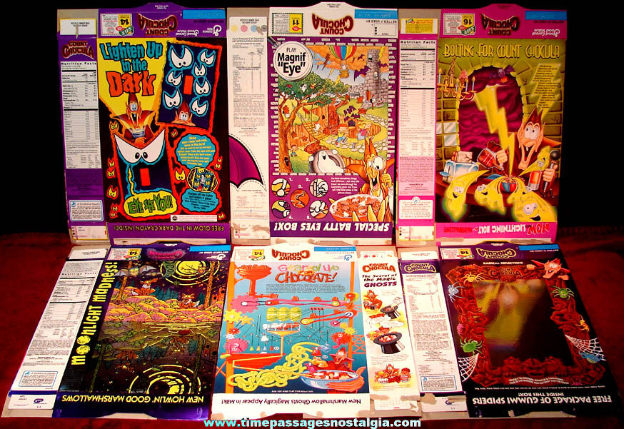 (6) Different Colorful 1990s General Mills Count Chocula Advertising Cereal Boxes
