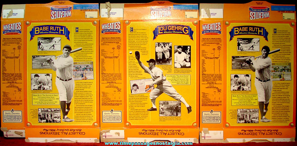 (3) ©1992 General Mills Wheaties 60 Years of Sports Heritage Advertising Cereal Boxes