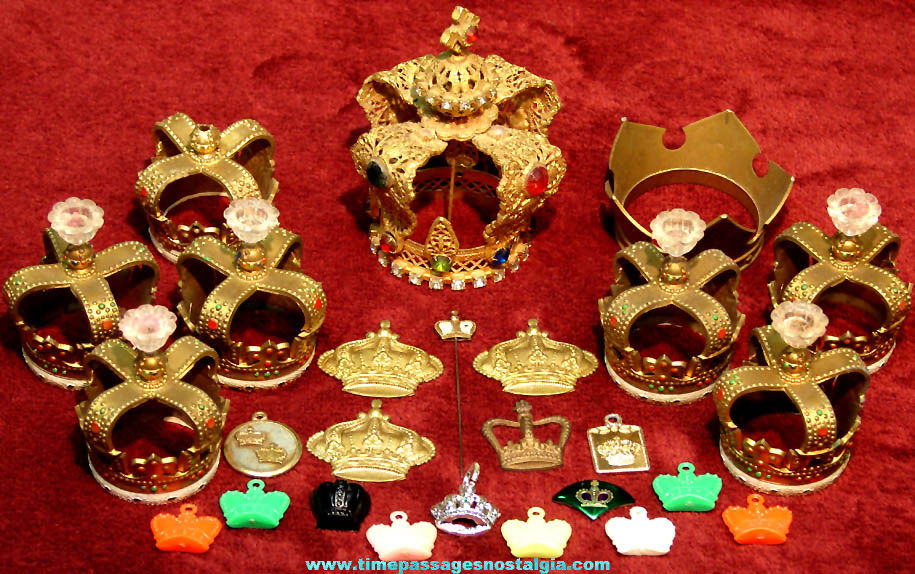 (26) Old Miniature Royal King or Queen Crown Items