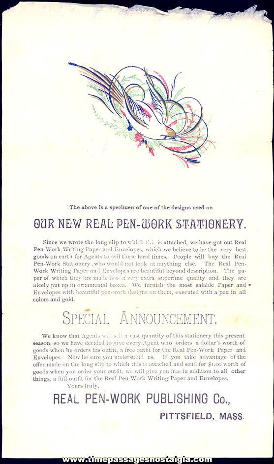 Old Real Pen Work Publishing Company Pittsfield Massachusetts Sample Advertisement