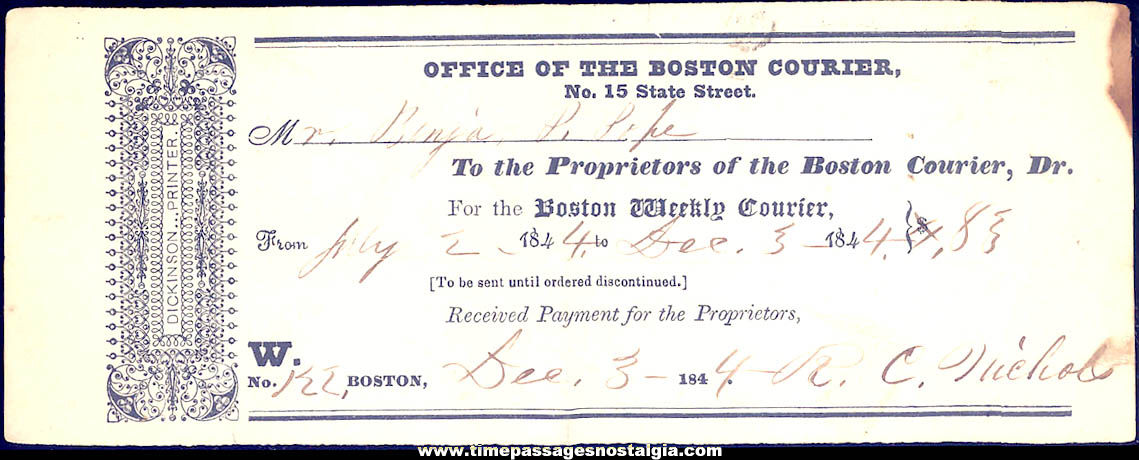 1844 Boston Weekly Courier Newspaper Subscription Receipt