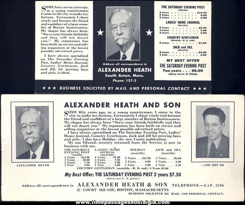 (2) Different Old Unused Alexander Heath South Acton & Boston Massachusetts Advertising Ink Pen Blotters