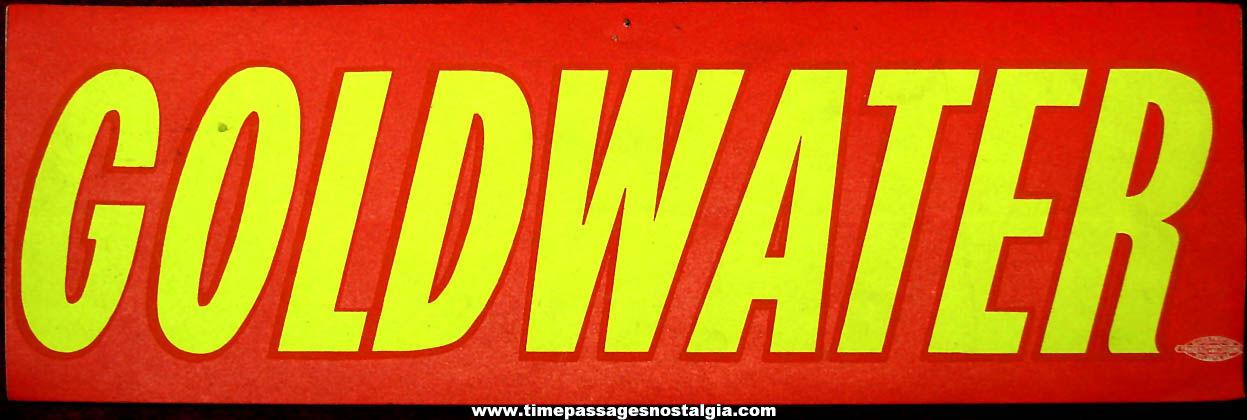 Unused United States Senator Barry Goldwater Advertising Political Campaign Bumper Sticker