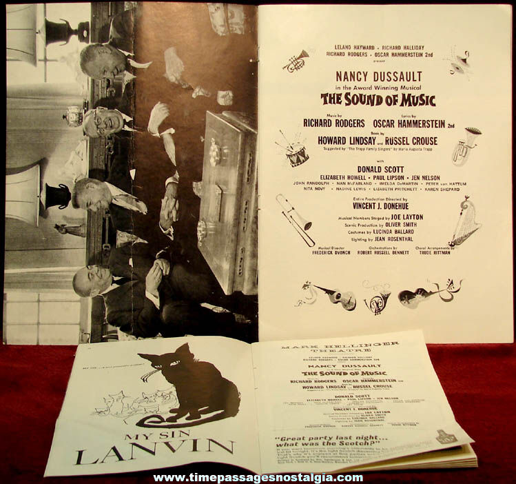 (2) Different 1960s The Sound of Music Musical Advertising & Souvenir Theatre Programs