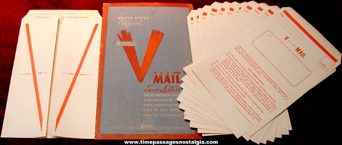 (13) Unused World War II V-Mail Letter Forms with V-Mail Advertising Envelope