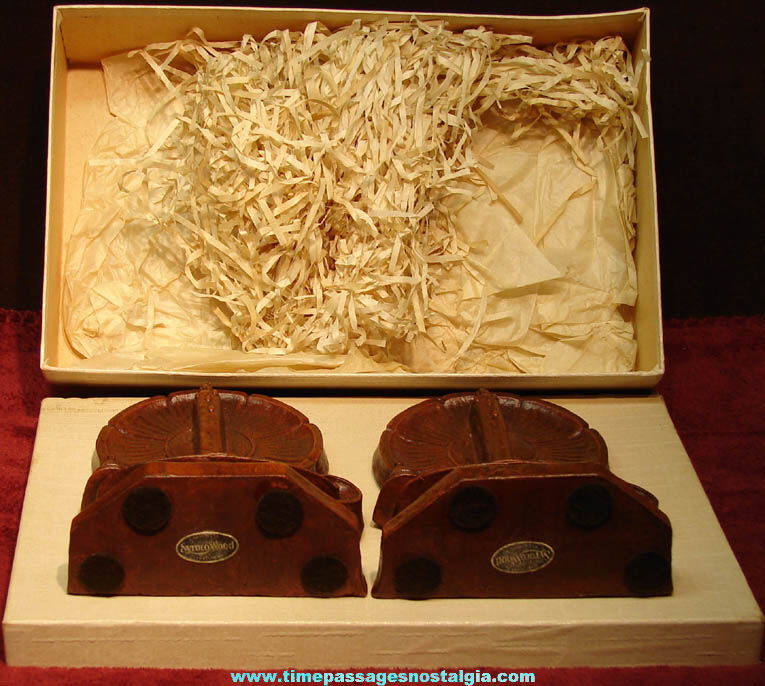 Set of (2) Unused & Boxed Fancy Old Syroco Wood Candle Holder Book Ends