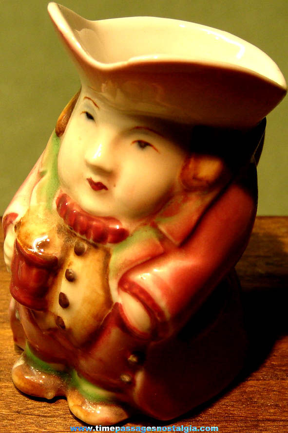 Colorful 1940s Miniature Porcelain Morirama Occupied Japan Toby Creamer Pitcher