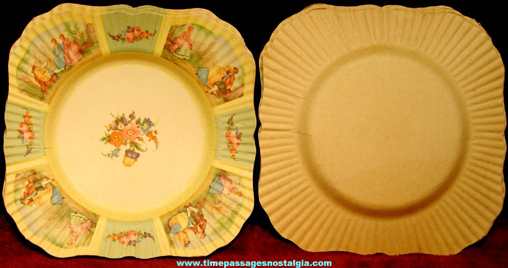 Set of (10) Colorful Old Unused Embossed Beach & Arthur Paper Party Plates with Label