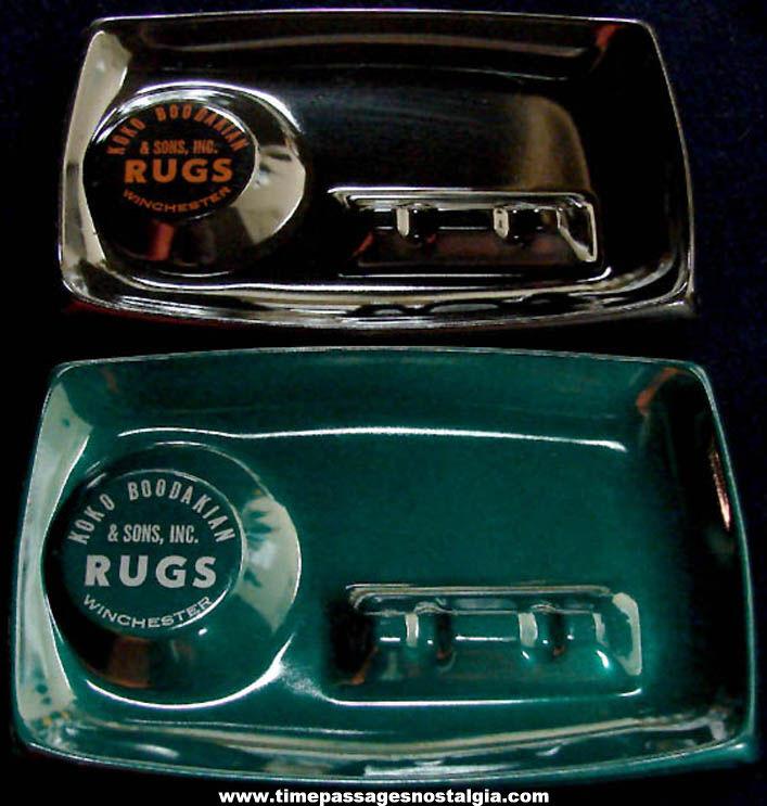 (2) Old Unused Metal Koko Boodakian & Sons Rugs Advertising Premium Cigarette Ash Trays