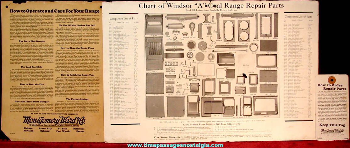 (3) Old Montgomery Ward Windsor Enameled A Range Paper Work Items