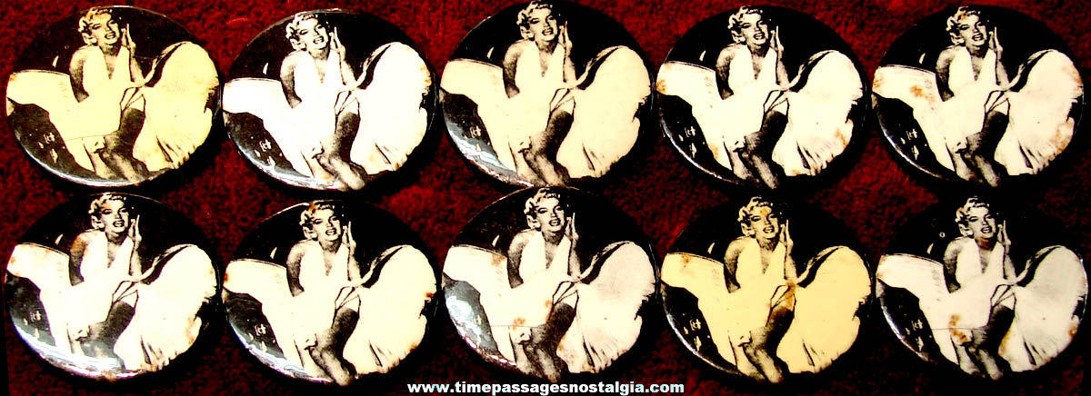 (10) Matching Marilyn Monroe or Norma Jean Movie Actress Pin Back Buttons