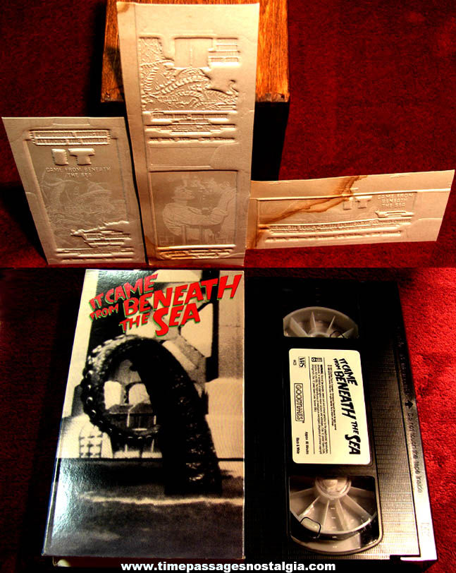 (4) Unused ©1955 IT Came From Beneath The Sea Monster Movie Ad Mat Mold & VHS Tape