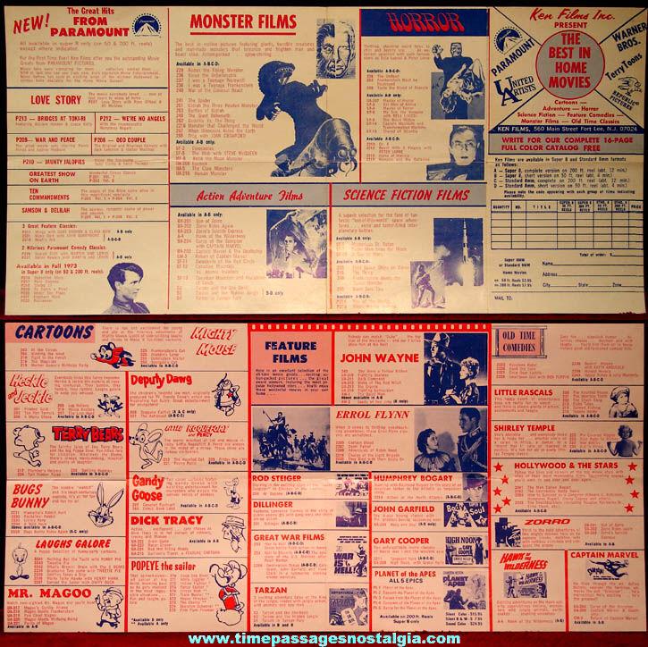 Unused 1973 Ken Films Home Movies List and Order Form