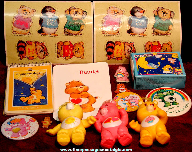 (24) Small Colorful Care Bears Shirt Tales and Wuzzles Cartoon Character Toy items