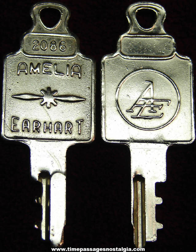 (2) Old Matching Amelia Earhart Luggage Advertising Keys