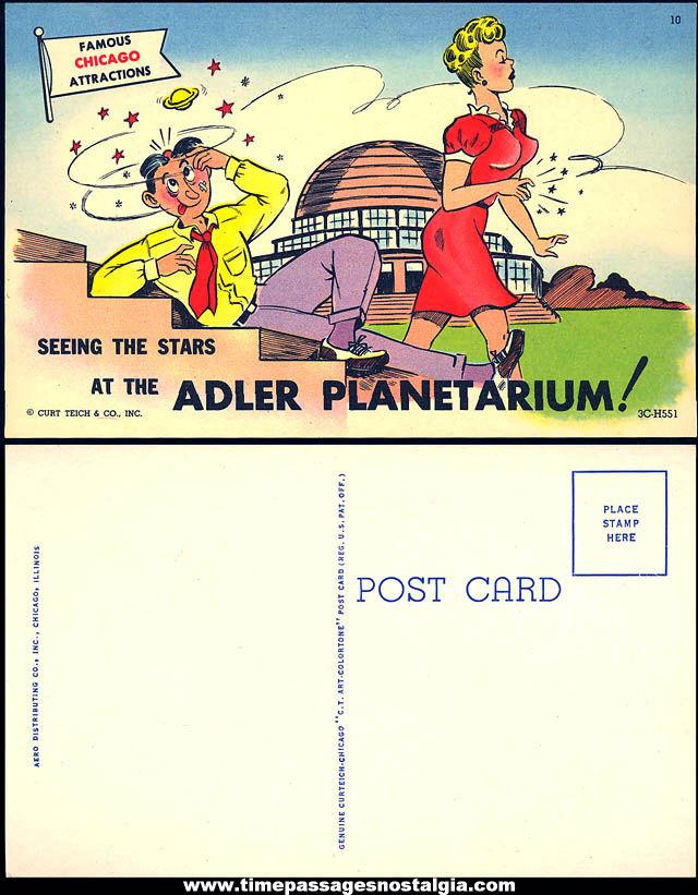 Colorful Old Unused Chicago Adler Planetarium Advertising Souvenir Risque Post Card