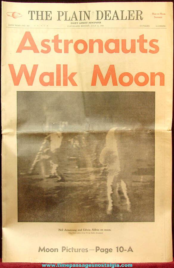 July 21st 1969 Apollo Astronauts Walk On Moon Ohio Plain Dealer Newspaper