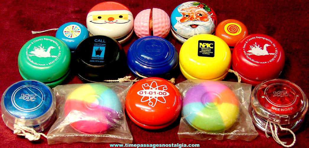 (15) Colorful Metal and Plastic Novelty Toy Yo Yos