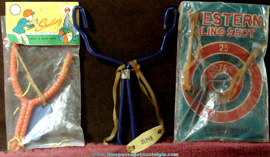 (3) Different Small Old Novelty Toy Sling Shots