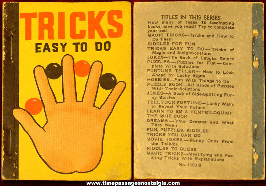 Small ©1938 Tricks Easy To Do Tricks of Magic and Sleight of Hand Magic Booklet
