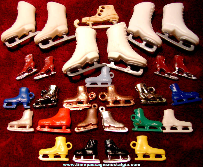 (28) Doll Miniature and Gum Ball Machine Prize Toy Charm Ice Skates