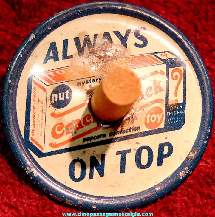 1930s Cracker Jack Pop Corn Confection Mystery Club Advertising Lithographed Tin Toy Spinner Top Prize