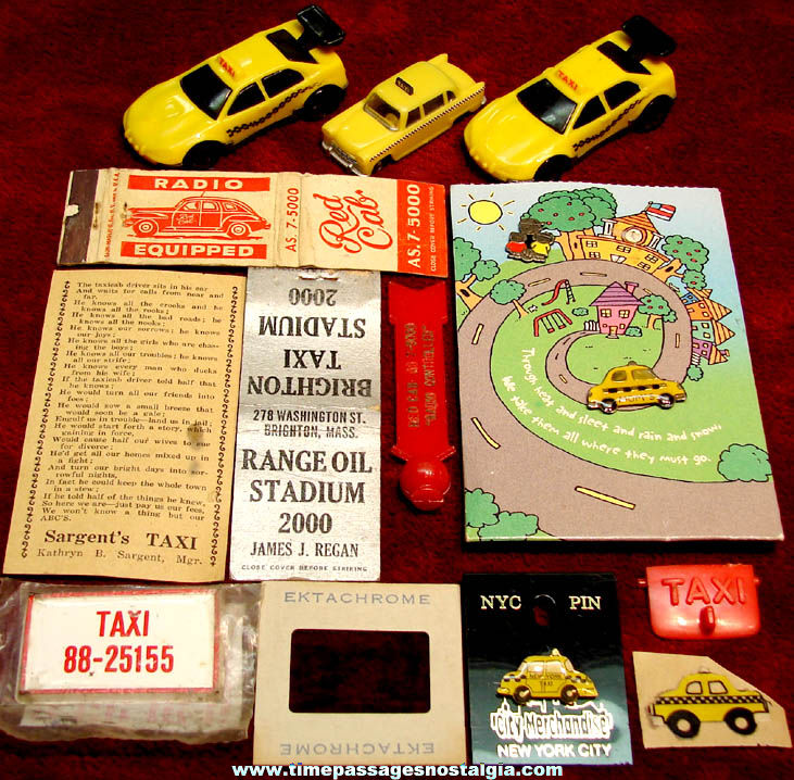 (14) Small Taxi Related Advertising and Toy Items