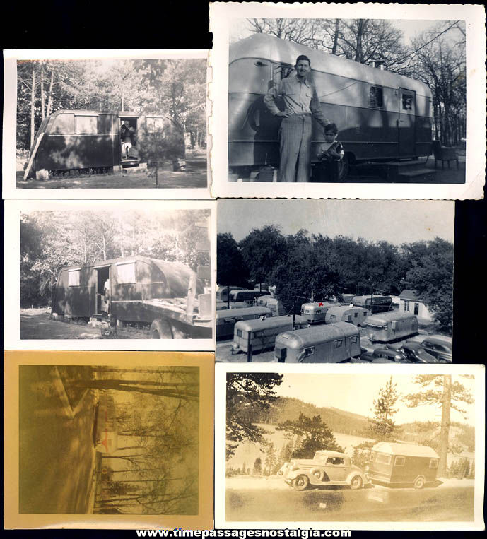 (6) Different Old Vacationing Camper Trailer Photographs