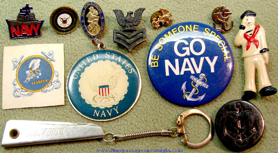 (12) Different Small Old United States Navy Related Items