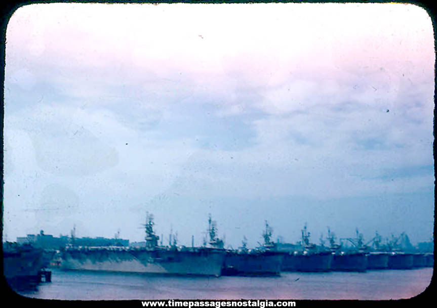 1947 Boston Harbor Massachusetts United States Navy Aircraft Carrier Flat Top Ships Photograph Slide