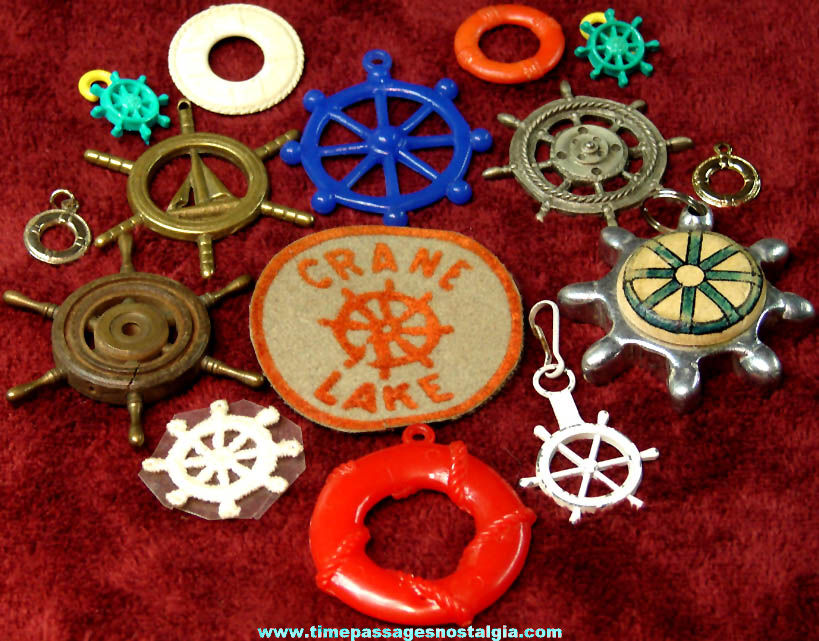 (15) Small Old Ship Helm or Wheel and Life Preserver Items