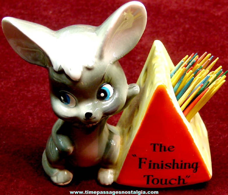 Colorful Old Ceramic Mouse & Cheese Finishing Touch Novelty Tooth Pick Holder
