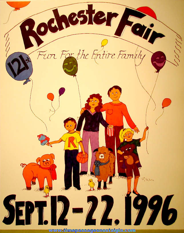 Colorful Unused 1996 121st Annual Rochester New Hampshire Fair Advertising Poster