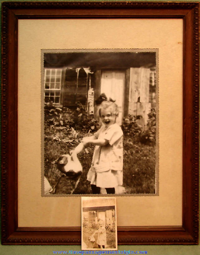 Old Framed Young Girl & Cat Enlargement with The Original Photograph