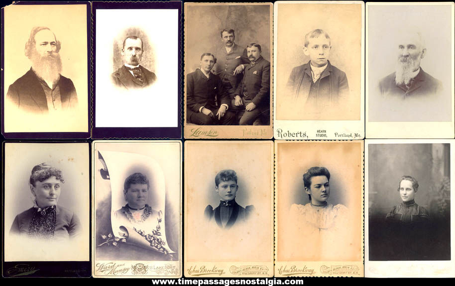 (10) Different Old Men & Women Cabinet Photograph Cards