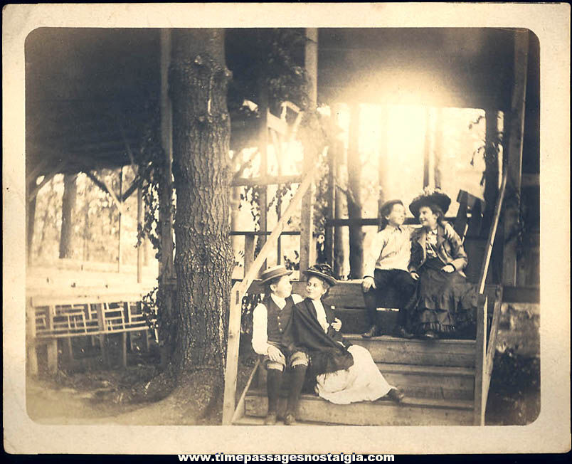 1901 Photograph of Young Victorian Couples on a Spiritual Camp Platform or Stage