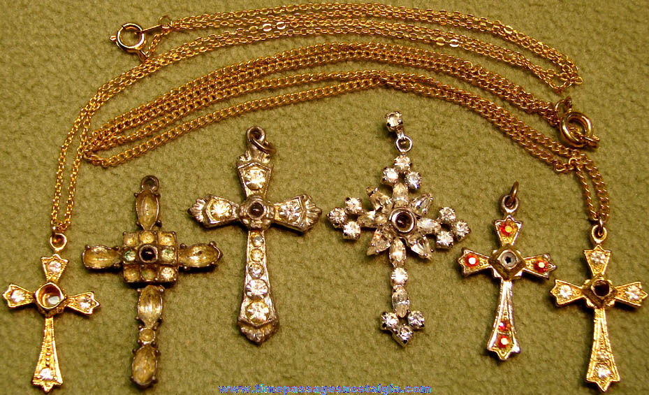 (6) Old Stanhope Viewer Necklace Cross Pendant Charms with Stones