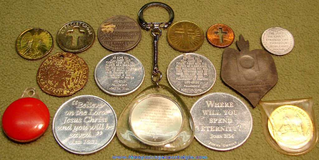 (15) Old Metal Church Angel Prayer or Religious Token Coins