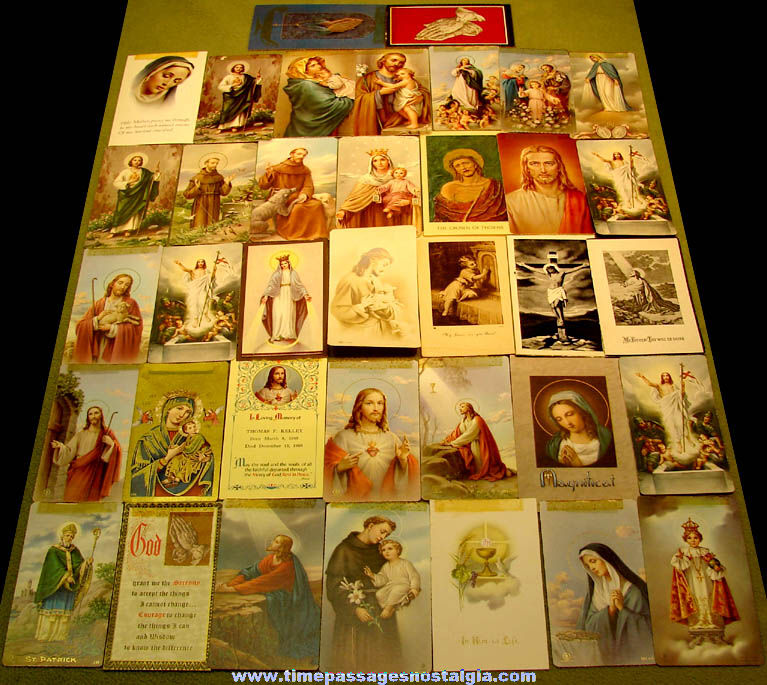 (37) Colorful 1920 – 1987 Named & Dated Religious Funeral Prayer Cards
