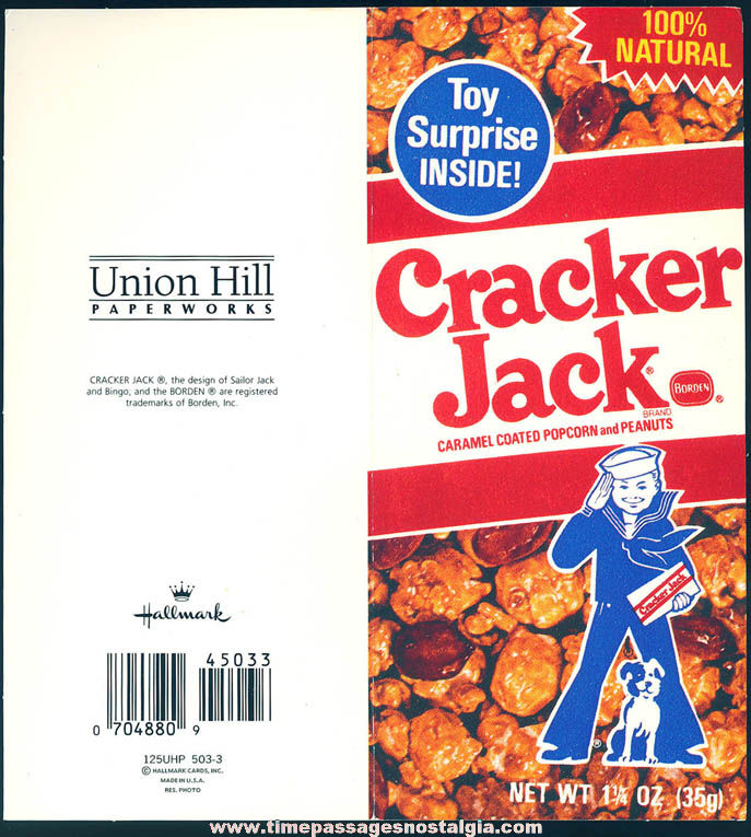 Old Unused Cracker Jack Pop Corn Confection Advertising Greeting Card with Envelope
