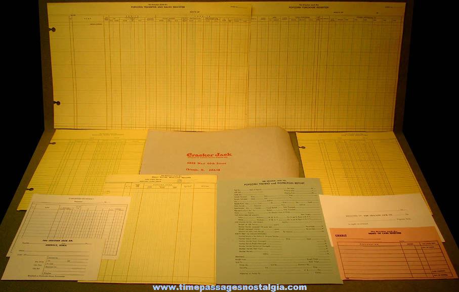 (11) Different Old Unused Cracker Jack Company Pop Corn Paperwork Items