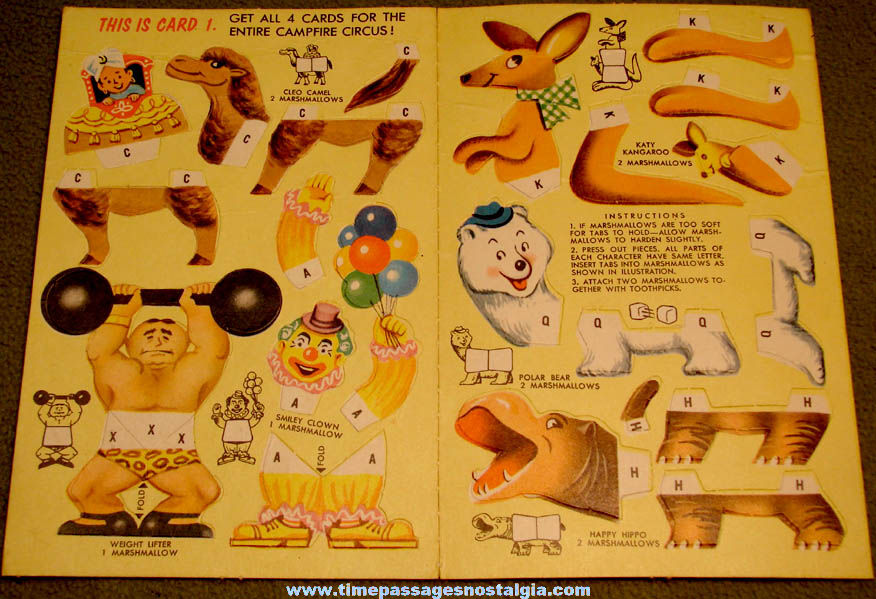 Old Campfire Marshmallows Advertising Premium Circus Cutouts Card #1