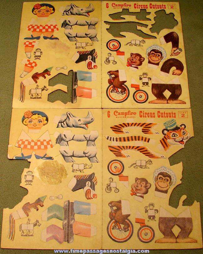 (2) Old Campfire Marshmallows Advertising Premium Circus Cutouts Card #2