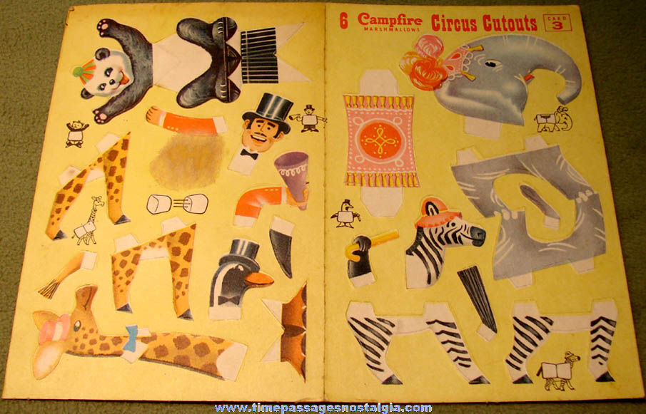 Old Campfire Marshmallows Advertising Premium Circus Cutouts Card #3