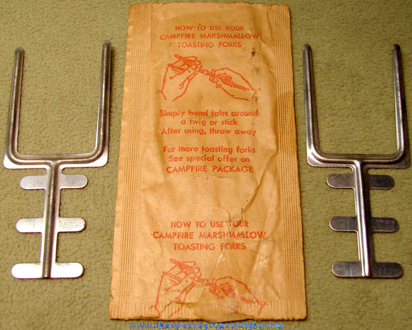 (2) Old Unused Campfire Marshmallows Advertising Premium Toasting Forks with Envelope
