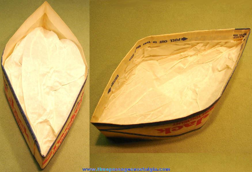 1959 Cracker Jack Pop Corn Confection Concession Vender Advertising Paper Hat